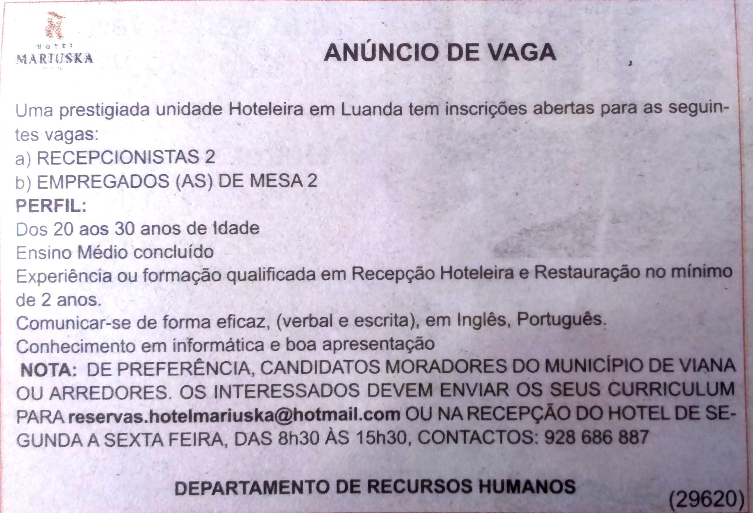 Anúncios Recepcionista Do Hotel-7698